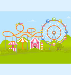 Amusement park with ferris wheel and attraction vector