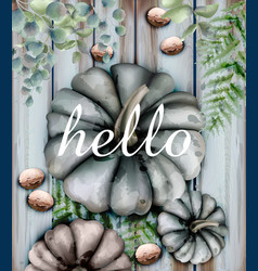 Autumn card with pumpkins watercolor style vector