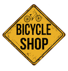 bicycle shop vintage rusty metal sign vector image