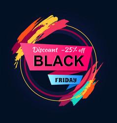 Black friday discount 25 inscription circle frame vector