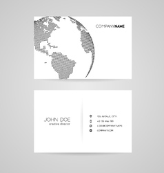 Business card with abstract dotted earth world vector image