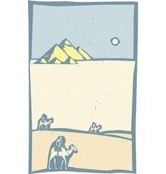 Camels in Desert vector image