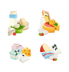 cartoon dairy and cheese products piles set vector image