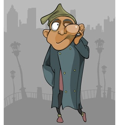 cartoon homeless man with the flux goes through vector image