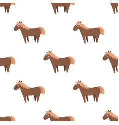 cartoon horse seamless pattern on white vector image