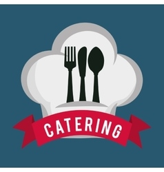 catering food service spoon fork knife hat shape vector image