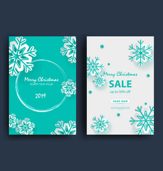 christmas holiday design with paper cut snowflake vector image