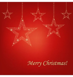 Christmas Red Card Christmas Stars vector