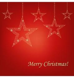 Christmas Red Card Christmas Stars vector