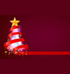 christmas tree made red ribbon new year vector image