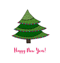 christmas tree sticker happy new year cartoon card vector image
