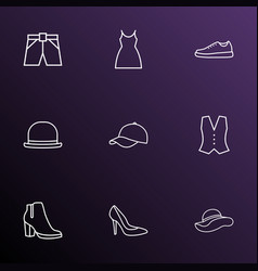 clothes icons line style set with panama vest vector image