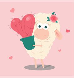 cute cartoon sheep with a cactus heart vector image