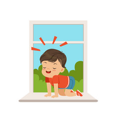 Cute little bully boy sitting on the windowsill at vector