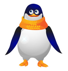 Cute paunchy penguin in a yellow knitted scarf vector