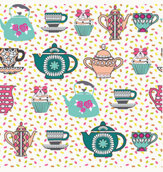 decorative tea time seamless pattern vector image