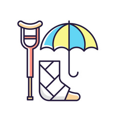 Disability insurance rgb color icon vector