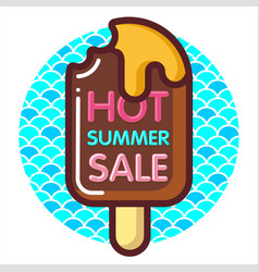 discount voucher with text-hot summer sale and vector image