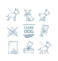 Dog clean up poop icons vector