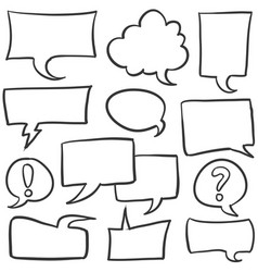 Doodle speech bubble style set vector