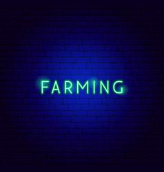 farming neon text vector image