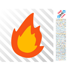 Fire flat icon with bonus vector