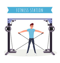 fitness station workout flat vector image