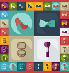 Flat concept set modern design with fashion beauty vector
