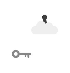 Flat design concept of key reach to keyhole on vector