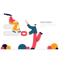 flat style discuss social vector image