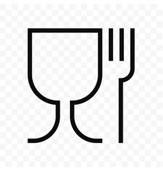Food safe material glass and fork symbol vector