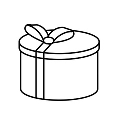 Gift round box ribbon linear vector