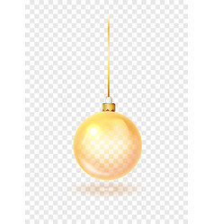 gold christmas glass toys on a transparent vector image
