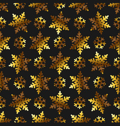 golden snowflakes on black papper seamless pattern vector image