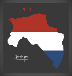 Groningen netherlands map with dutch national flag vector