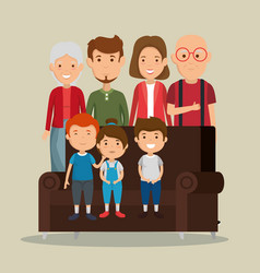 Group of family members in the living room vector
