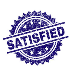 Grunge textured satisfied stamp seal vector