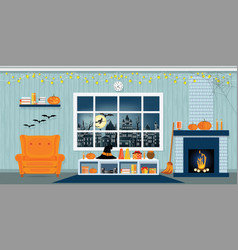 halloween party in living room vector image