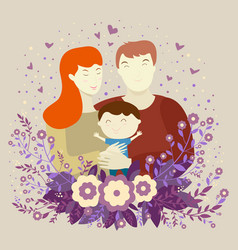 happy family young parents mom dad and son on vector image