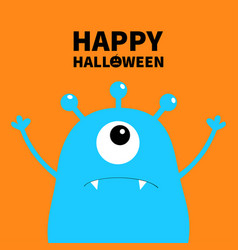 Happy halloween monster scary face head icon one vector