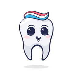 Healthy bahuman tooth with eyes and toothpaste vector