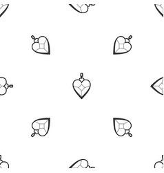 heart shaped pendant pattern seamless black vector image