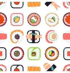 Japanese food sushi seamless pattern vector image