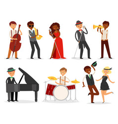 Jazz musician character playing on musical vector