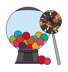 Lollipop and gums dispenser crystal ball blue vector