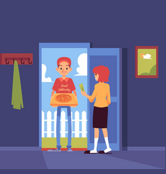 man stands at doorway and delivering pizza box to vector image
