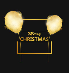merry christmas golden balloons in the frame vector image