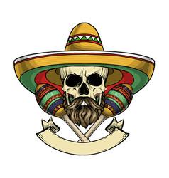 Mexican sketch skull vector
