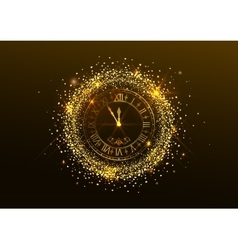 Midnight New Year Clock with Roman numerals and vector image