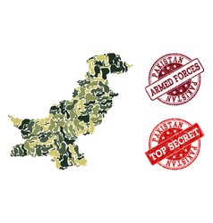 Military camouflage composition of map of pakistan vector